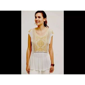Anthropology Ranna Gill Embroidered Blouse
